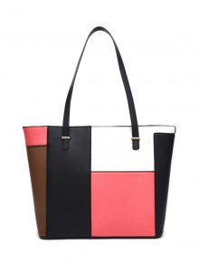 Faux Leather Color Block Shoulder Bag - Pink