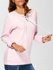 Casual Lace-Up Sweatshirt