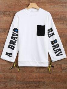 Buy Side Slit Graphic Sweatshirt - WHITE ONE SIZE