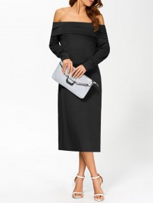 Foldover Off The Shoulder Midi Dress - Black