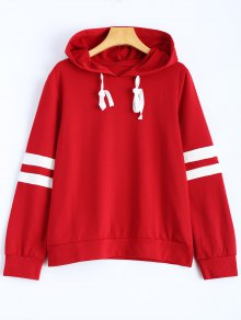 Stripes Pullover Hooded Sweatshirt - Wine Red S