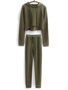 Cropped Hoodie And Drawstring Sports Pants - Army Green