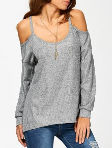Cold Shoulder Long Sleeves T-Shirt For Women - Gray