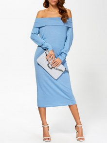 فستان الكمين الطويلين و الكتف العار  - أزرق M