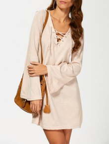 Flared Sleeve Lace Up Knit Dress - Khaki S