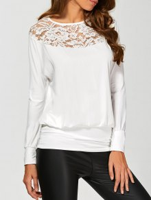 Lace Yoke Long Sleeve T-Shirt