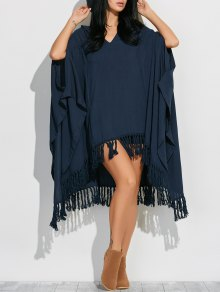 Hooded Poncho Midi Dress With Sleeves - Cadetblue L
