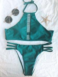 Bikini court à bretelles avec col haut