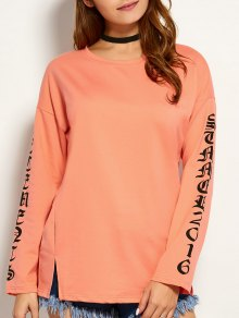 Graphic Round Neck Tee - Orange M