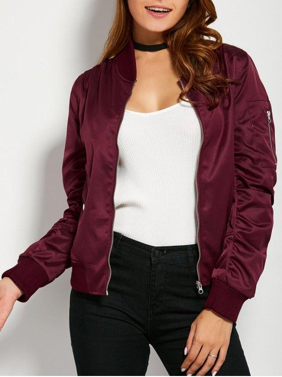women's Pockets Bomber Jacket - BURGUNDY L