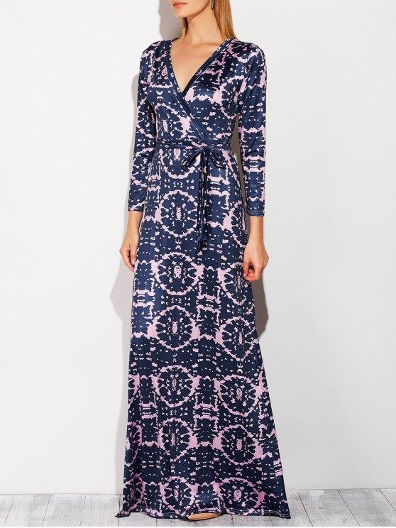 Maxi robe effet tie-dye à décolleté plongeant - Bleu Violet L