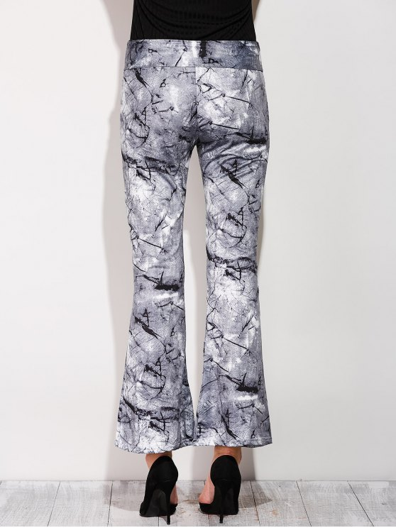 Slimming Boot Cut Pants With Chinese Painting - COLORMIX XL Mobile