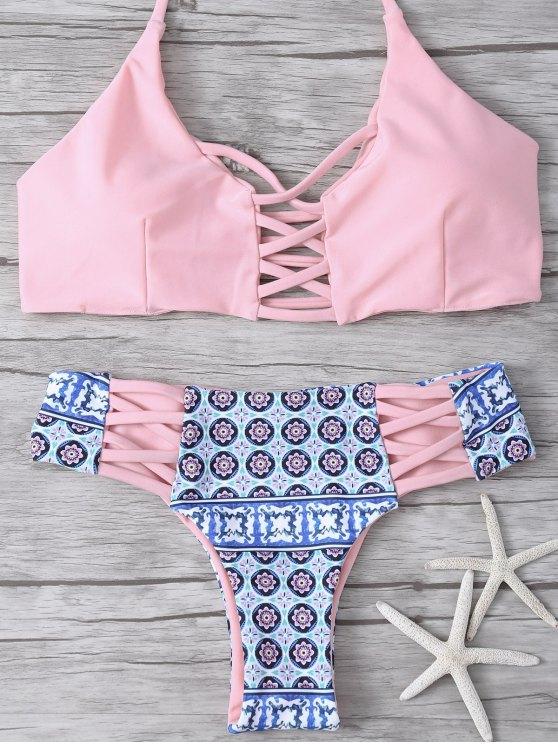 Ensemble bikini dos croisé impression tribale - ROSE PÂLE L