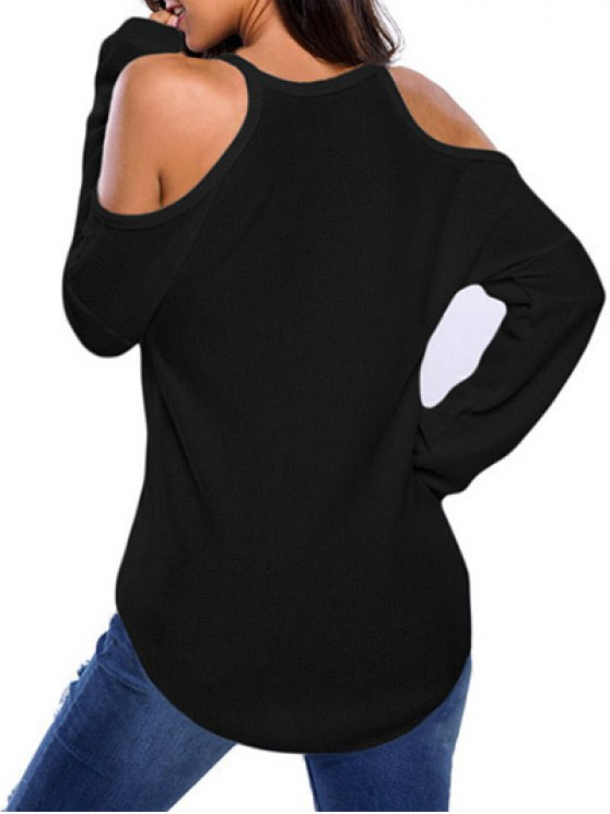 Cami Cold Shoulder Knitwear - BLACK S Mobile
