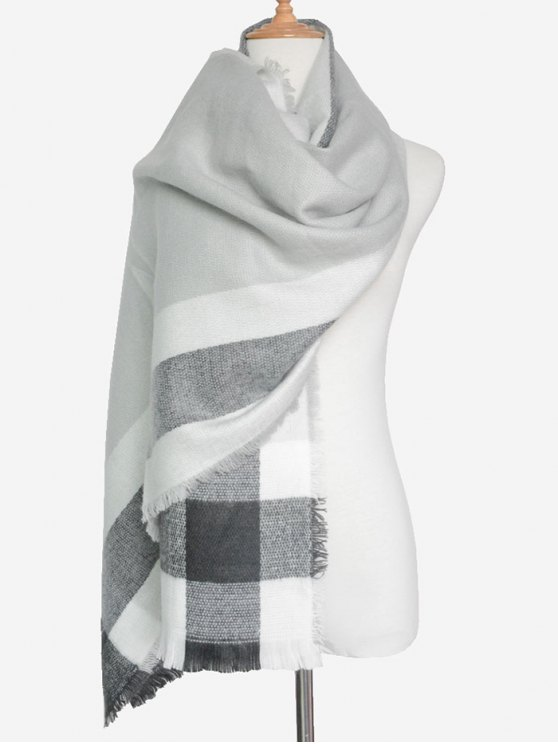 Check Pattern Fringed Scarf - GRAY  Mobile