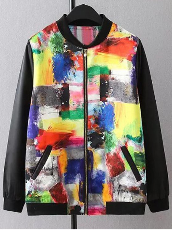 Scrawl Pattern Bomber Jacket - COLORMIX 3XL Mobile