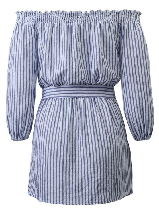 Striped Off Shoulder Belted Dress - BLUE AND WHITE M Mobile