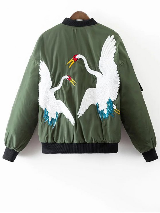 Crane Embroidered Zippered Souvenir Jacket - GREEN M Mobile