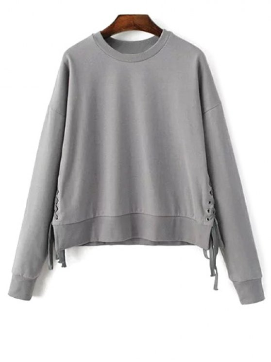 Lace Up Jewel Neck Sweatshirt - GRAY ONE SIZE Mobile