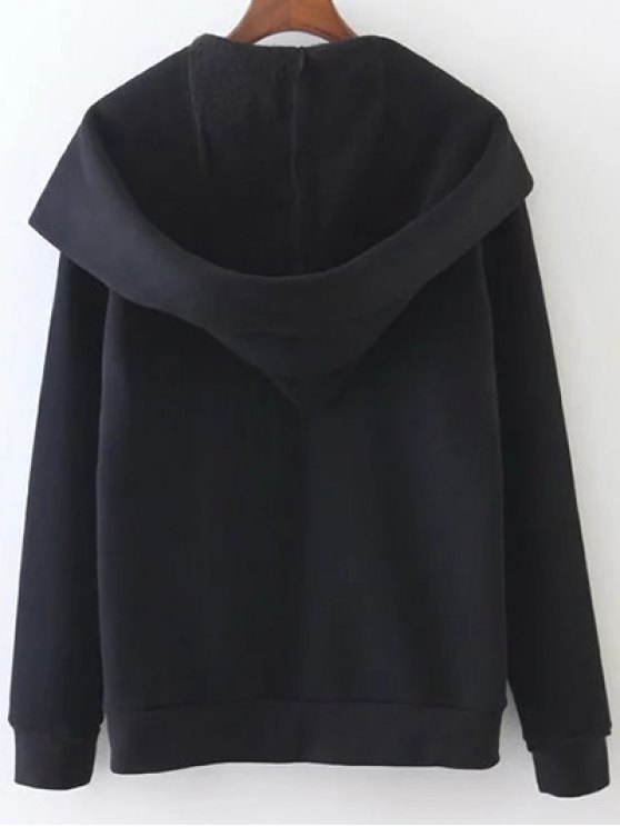 Pockets Zip Up Hoodie - BLACK L Mobile