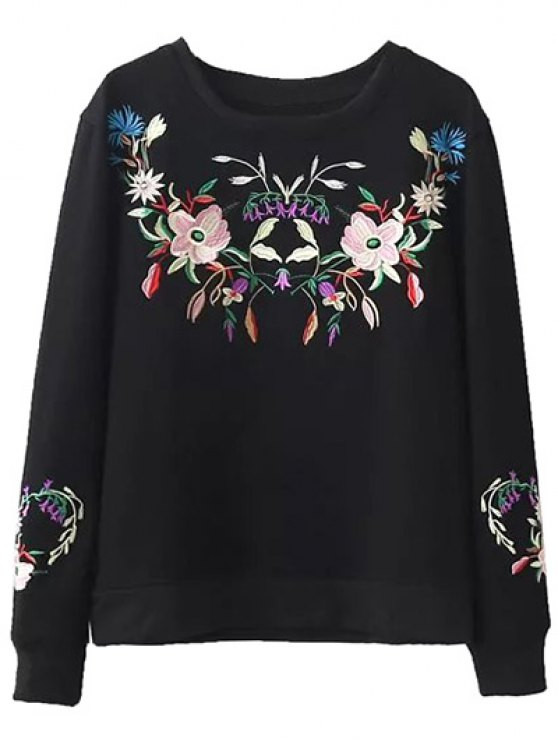 Fleeced Floral Embroidered Sweatshirt - BLACK S Mobile