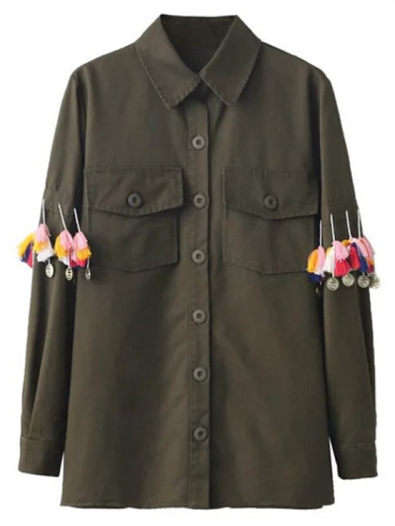 Tassels Utility Shirt - ARMY GREEN L Mobile