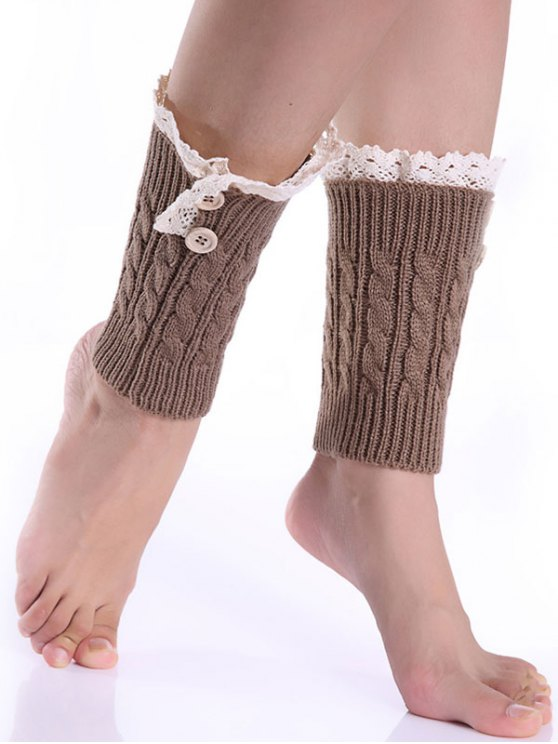 Lace Button Cable Knitted Boot Cuffs - KHAKI  Mobile