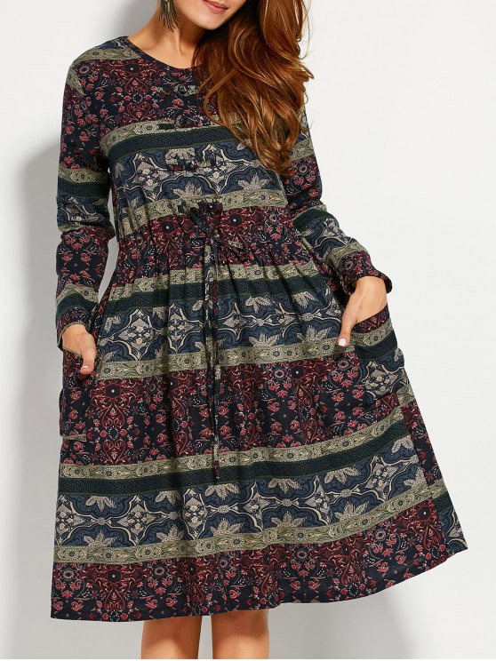new Retro Print V Neck Long Sleeve A Line Dress - COLORMIX XL
