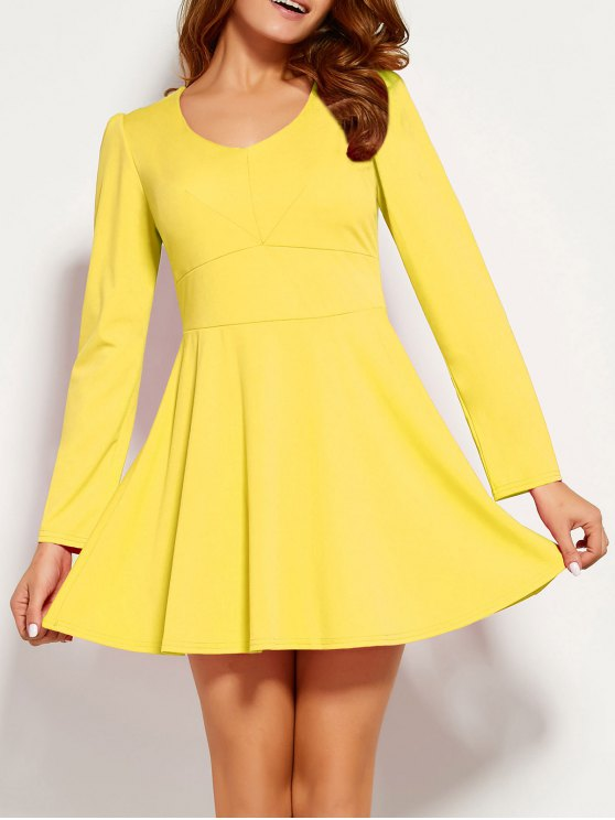 trendy Long Sleeve V Neck Skater Dress - YELLOW L