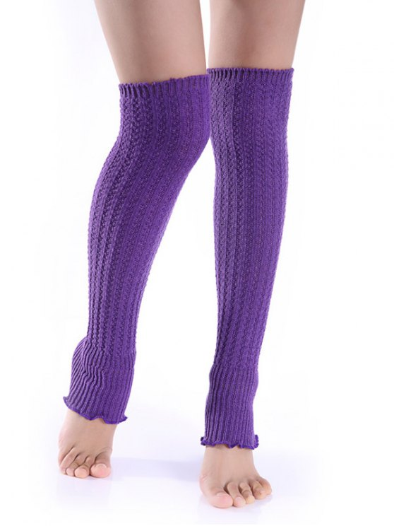 shops Cable Knitted Leg Warmers - PURPLE