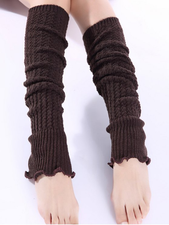 Cable Knitted Leg Warmers - COFFEE  Mobile