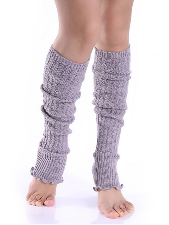 Cable Knitted Leg Warmers - LIGHT GRAY  Mobile