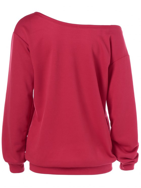 Skew Collar Love Pattern Sweatshirt - RED L Mobile