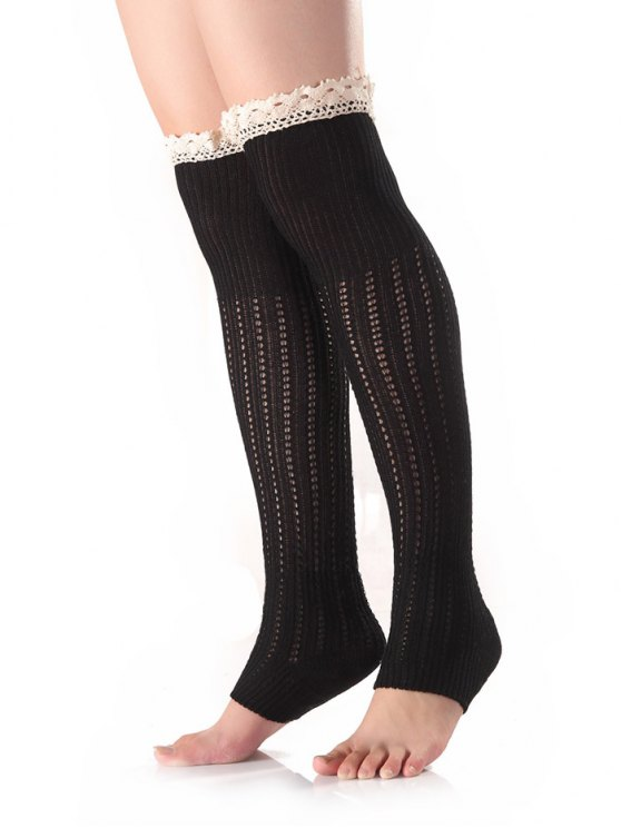 Lace Edge Knit Leg Warmers - BLACK  Mobile