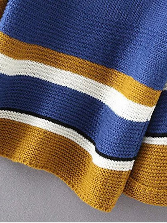 Color Block Colorful Sweater - BLUE ONE SIZE Mobile