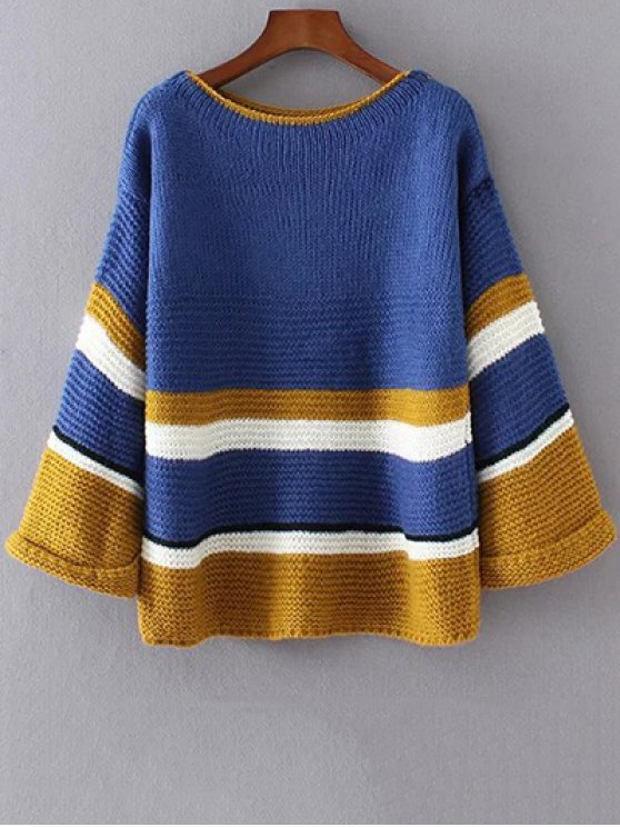 online Color Block Colorful Sweater - BLUE ONE SIZE