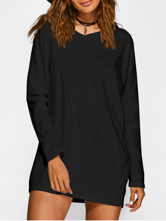 fashion Loose Long V Neck Sweater - BLACK L