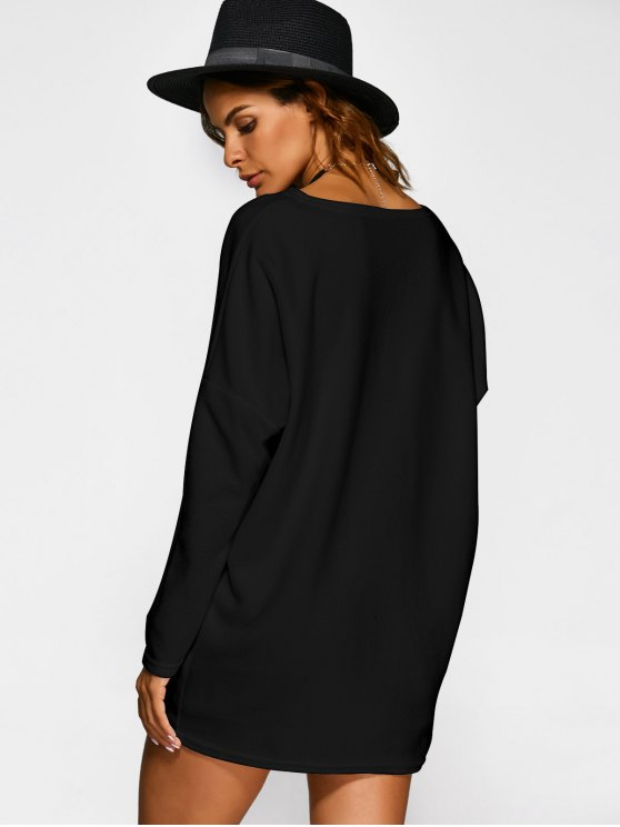 Loose Long V Neck Sweater - BLACK M Mobile