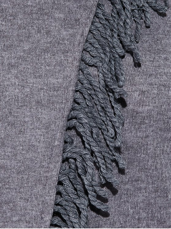 Tassels Long Sleeve Cardigan - DEEP GRAY S Mobile