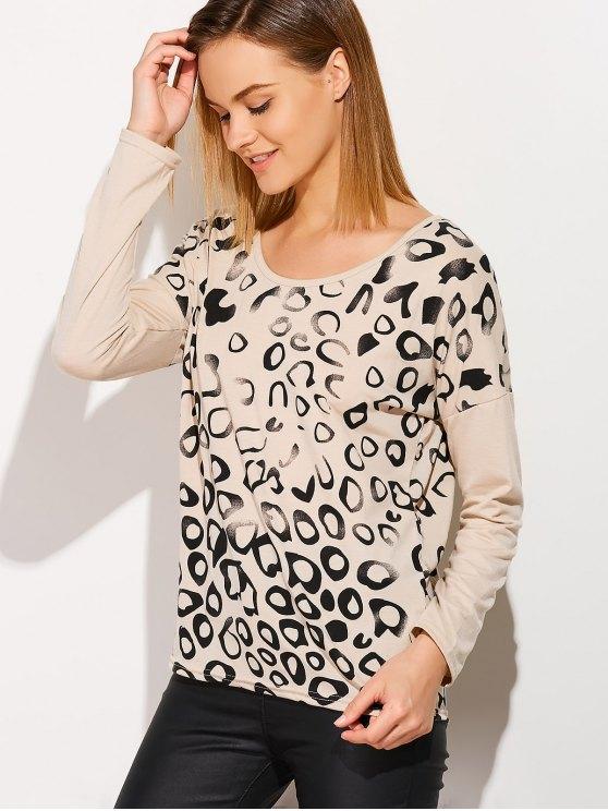 Scoop Collar Printed Tee - MILK WHITE M Mobile
