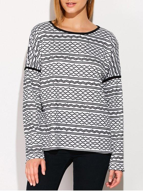 Impreso caída del hombro de la camiseta - Negro XL