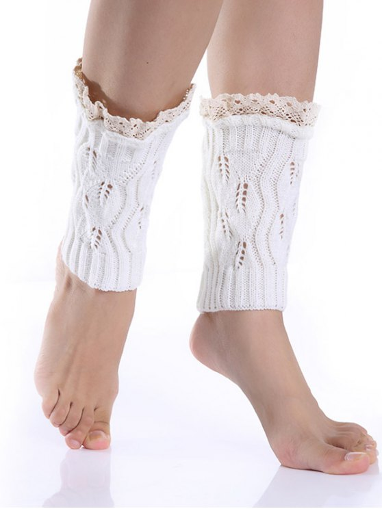 Lace Edge Knitted Boot Cuffs - WHITE  Mobile