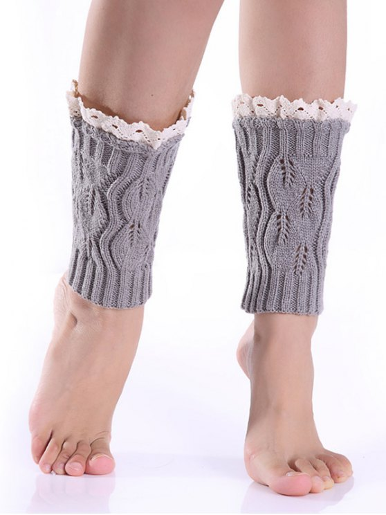 outfits Lace Edge Knitted Boot Cuffs - LIGHT GRAY