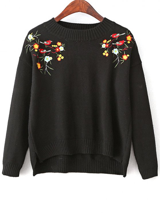 Slit Embroidered High-Low Sweater - BLACK ONE SIZE Mobile