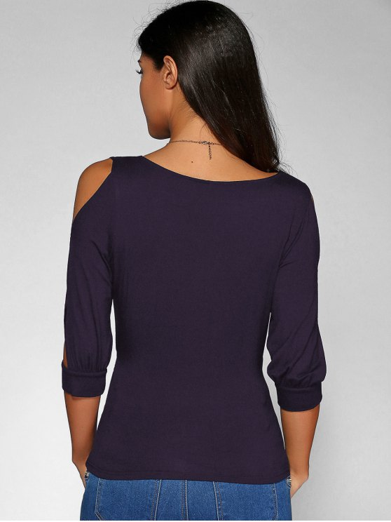 Cold Shoulder V Neck Top - CONCORD L Mobile