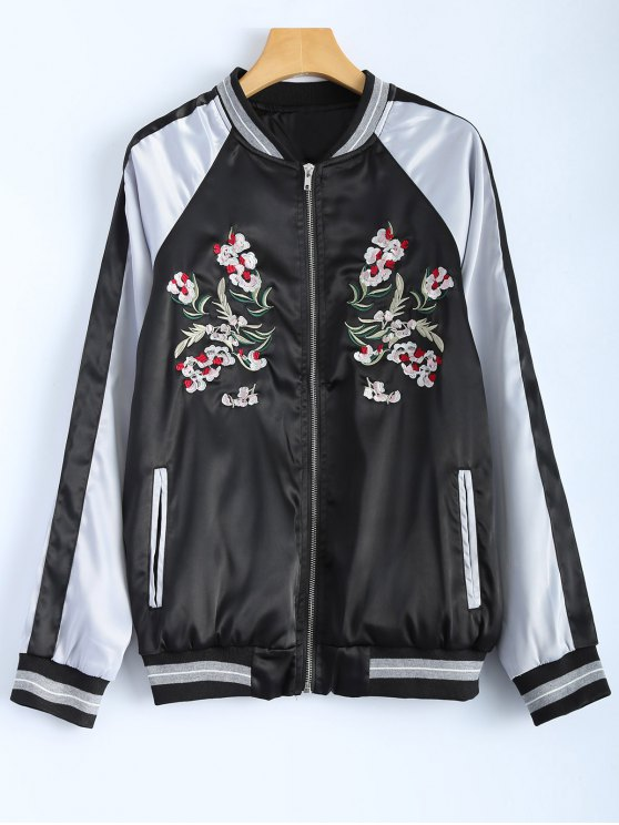 new Color Block Embroidery Jacket - BLACK S