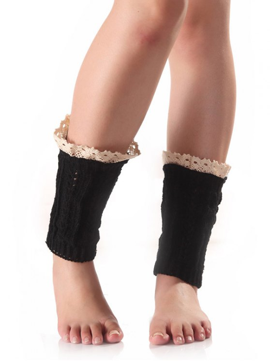 Lace Edge Wheat Knit Boot Cuffs - BLACK  Mobile
