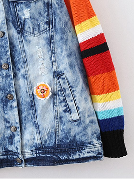 Denim Splicing Ripped Patched Jacket - BLUE M Mobile