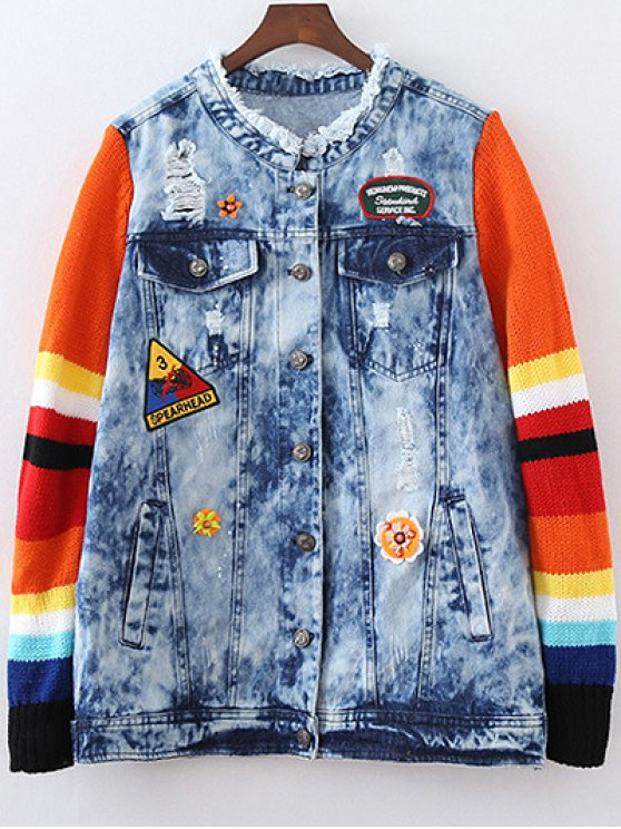 Denim Splicing Ripped Patched Jacket - BLUE L Mobile