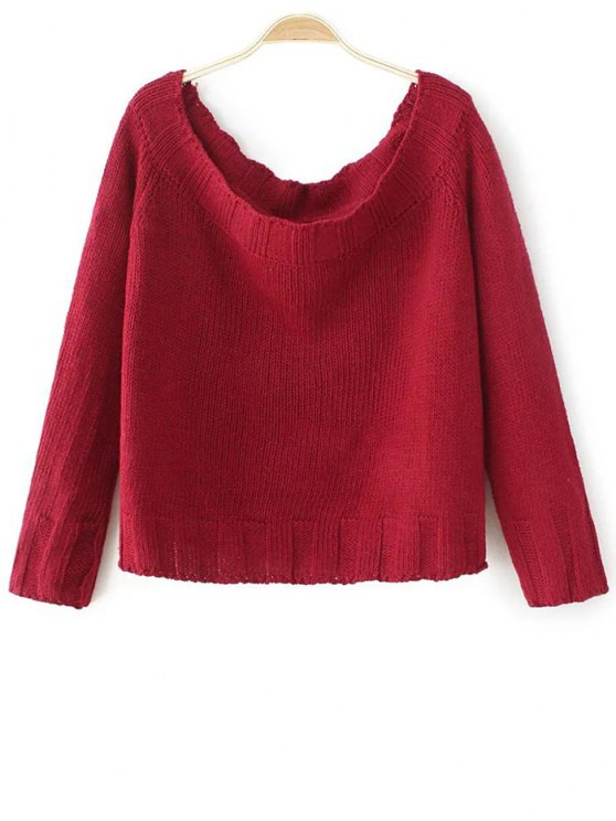 Off The Shoulder Cropped Sweater - RED ONE SIZE Mobile